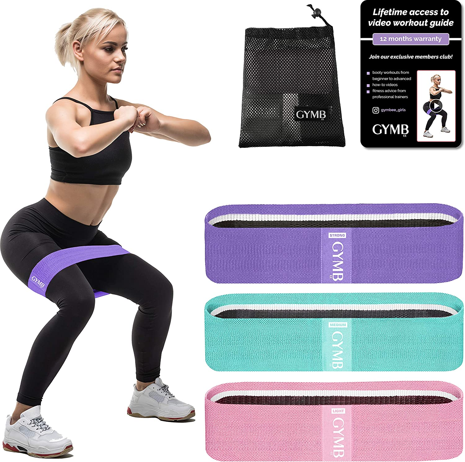 Gymbee 3 Fabric Resistance Bands for Legs and Butt Loop Exercise Bands Video Included Booty Workout Bands for Women Glute Bands Non Slip Squat Bands with 3 Resistant Levels