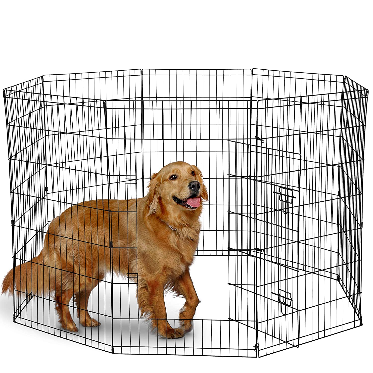 Dog Exercise Pen Pet Playpens for X-Large Dogs – Puppy Playpen Outdoor Back or Front Yard Fence Cage Fencing Doggie Rabbit Cats Playpens Outside Fences with Door – 42 Inch Metal Wire 8-Panel Foldable