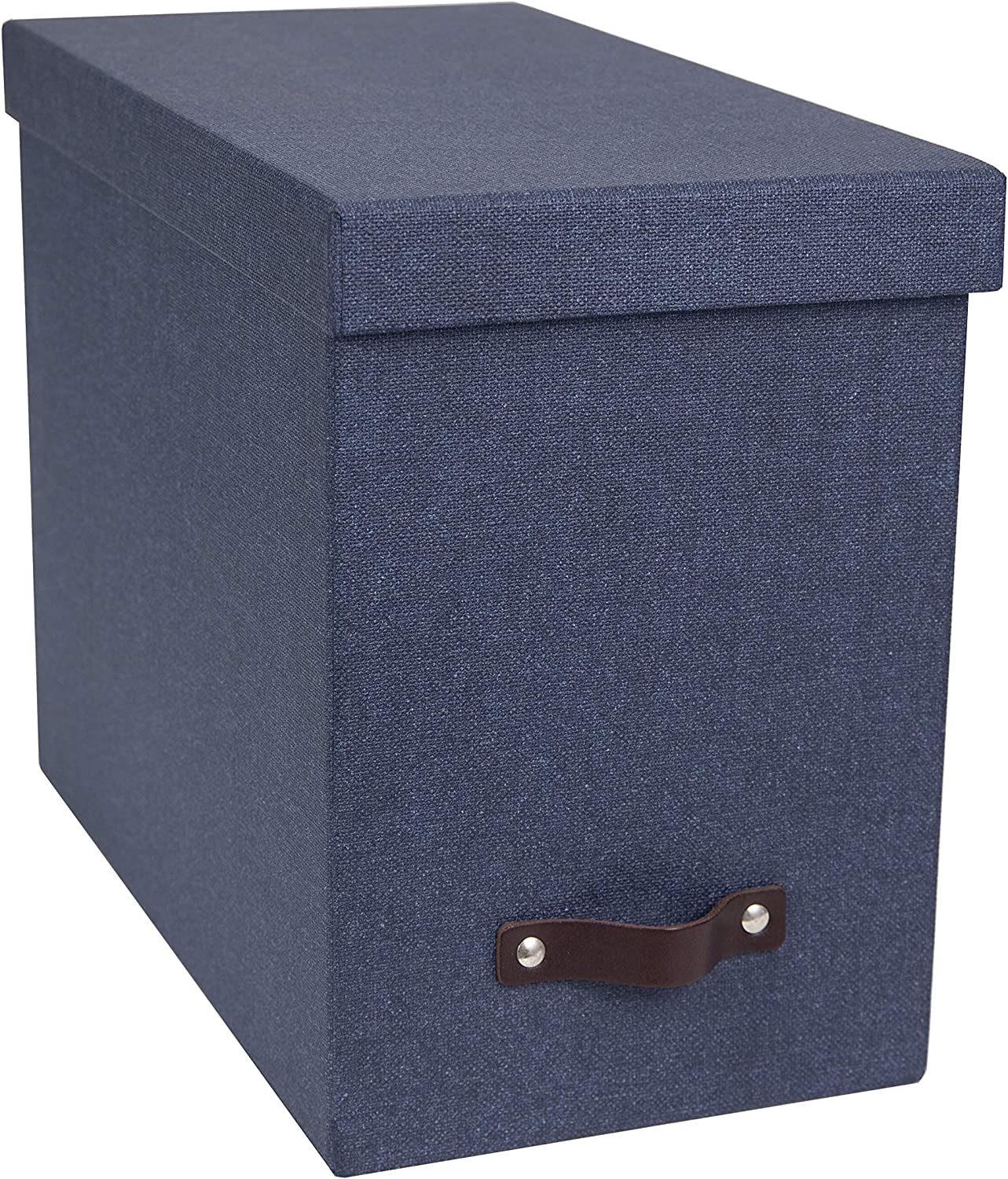Bigso John Canvas Fiberboard Desktop File Storage Box, 10.2 x 7 x 13 in, Blue