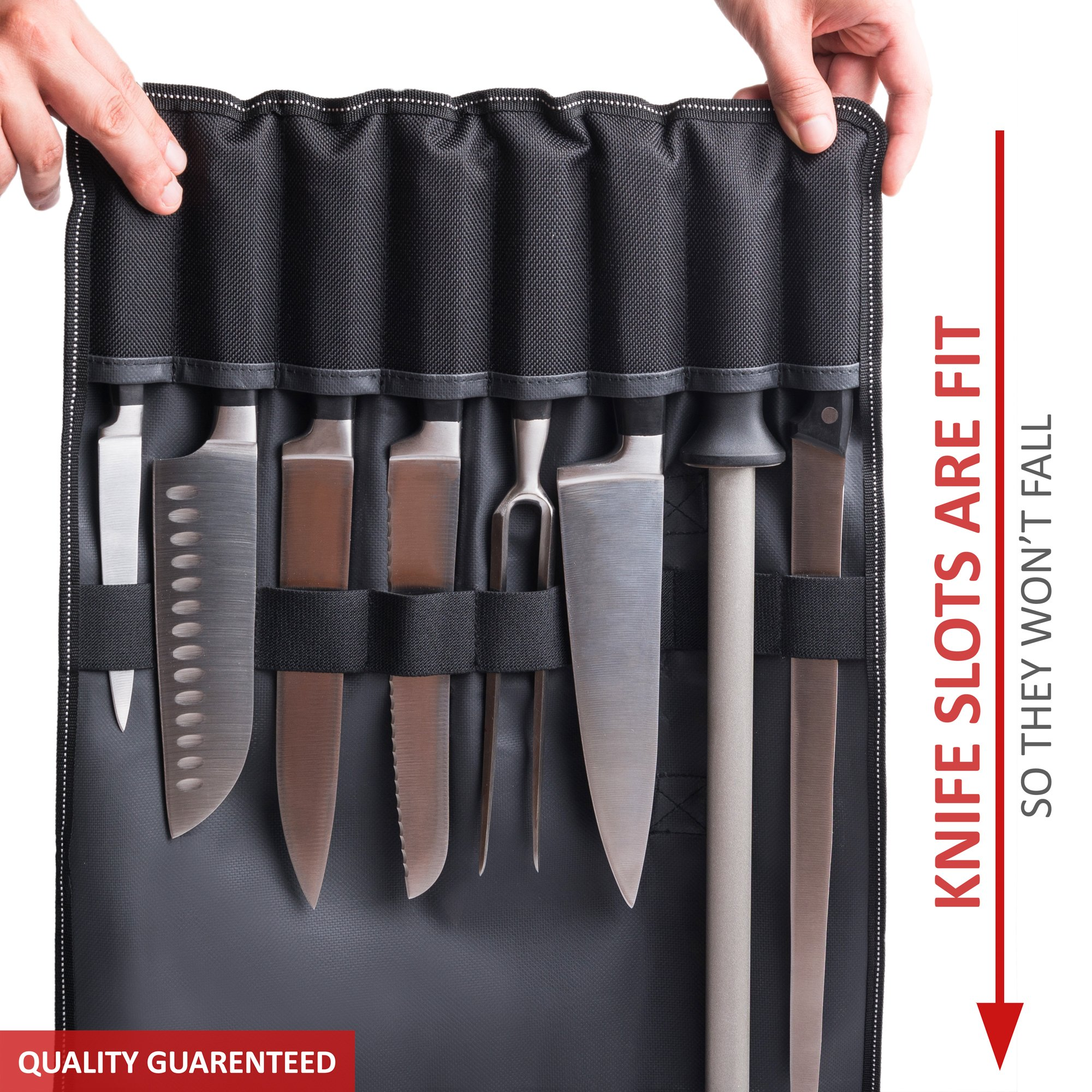 Chef Knife Bag (8 slots) – Durable and Waterproof Culinary Roll Case Utensil With Shoulder Strap and Holder – Knives Organizer For Chefs and Students + eBook Bonus + Extra-Warranty by 1stqual by 1stqual (Image #4)