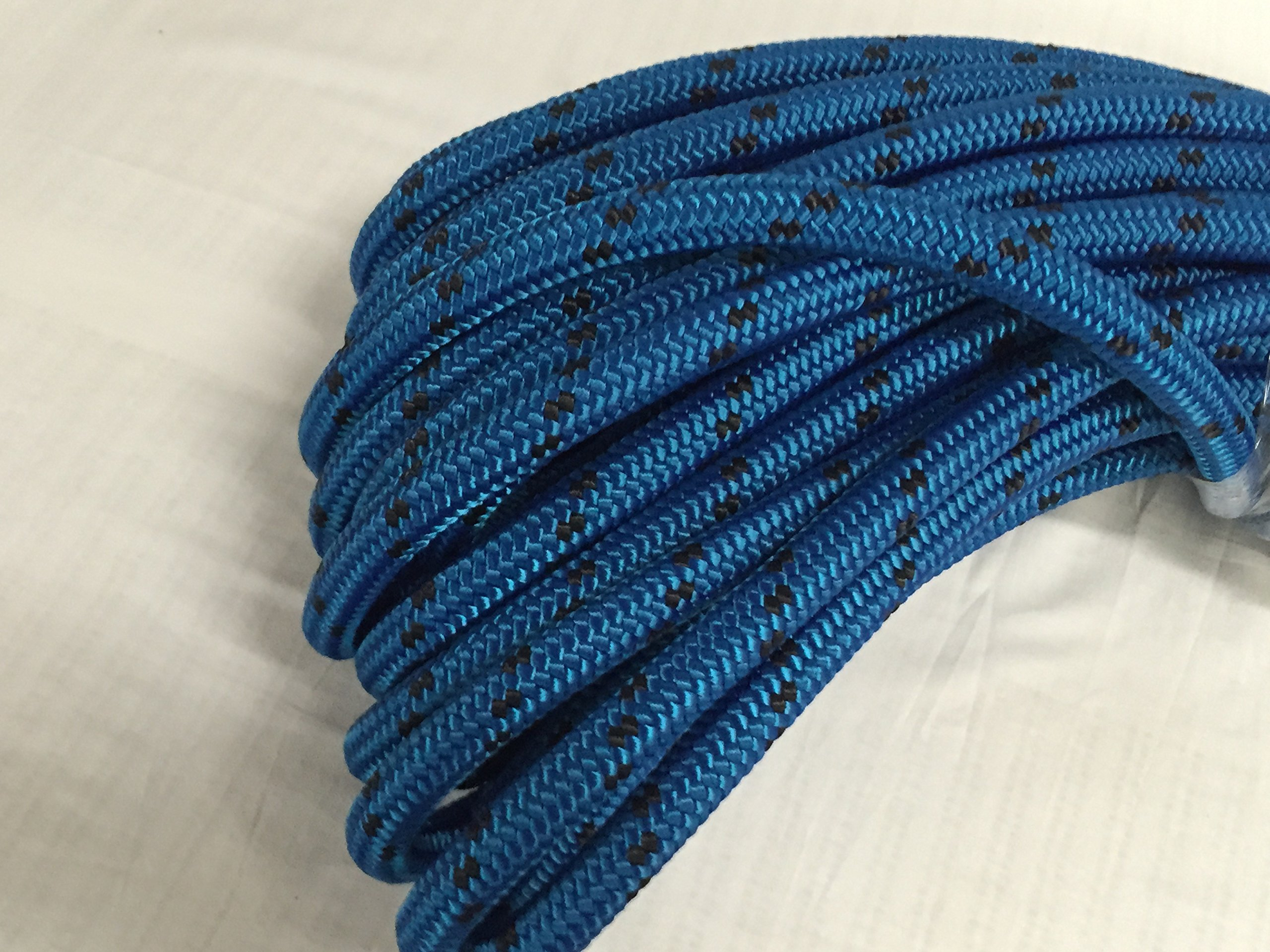 5/8'' X 150' Double Braid Polyester Arborist Bull Rope, Blue/Black