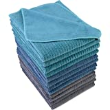 Polyte Premium Microfiber All-Purpose Ribbed Terry Kitchen Towel, 12 Pack (Blue, Gray, Teal, 16x28 in)