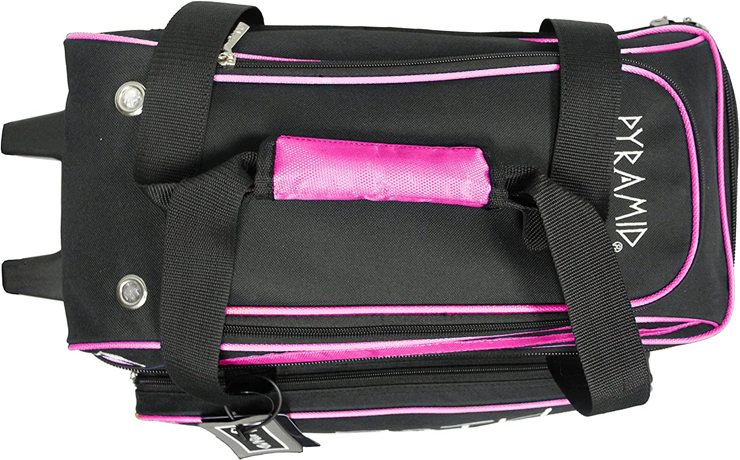 Black//Hot Pink Pyramid Path Premium Deluxe Double Roller with Oversized Accessory Pocket Bowling Bag