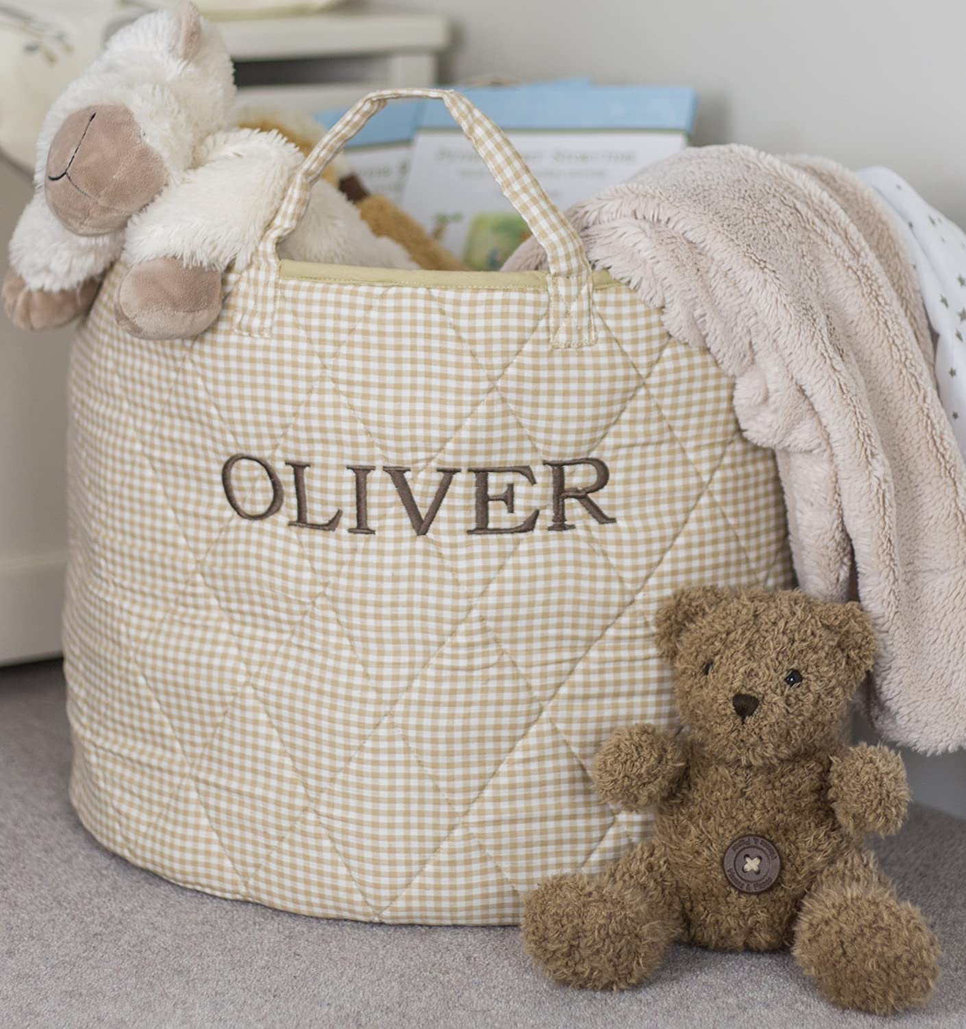 Personalised Simply Storage Quilted Storage Basket Large - Personalised text is Embroidered on these storage baskets, round storage basket, large fabric storage baskets - great for toy storage, kids storage and as a laundry hamper