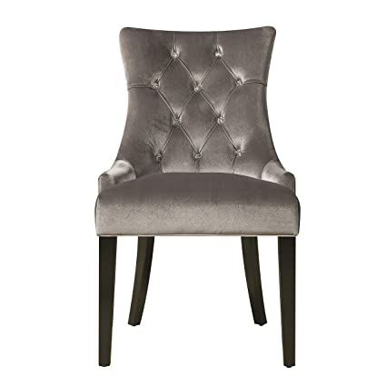 Exceptionnel Pulaski Upholstered Button Tufted Dining Chair, Silver Chrome Velvet