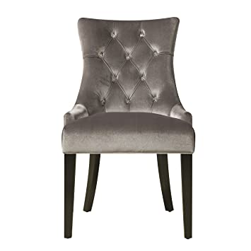upholstered button tufted dining chair silver chrome velvet dove gray lydia chairs set of 2 morgana parsons