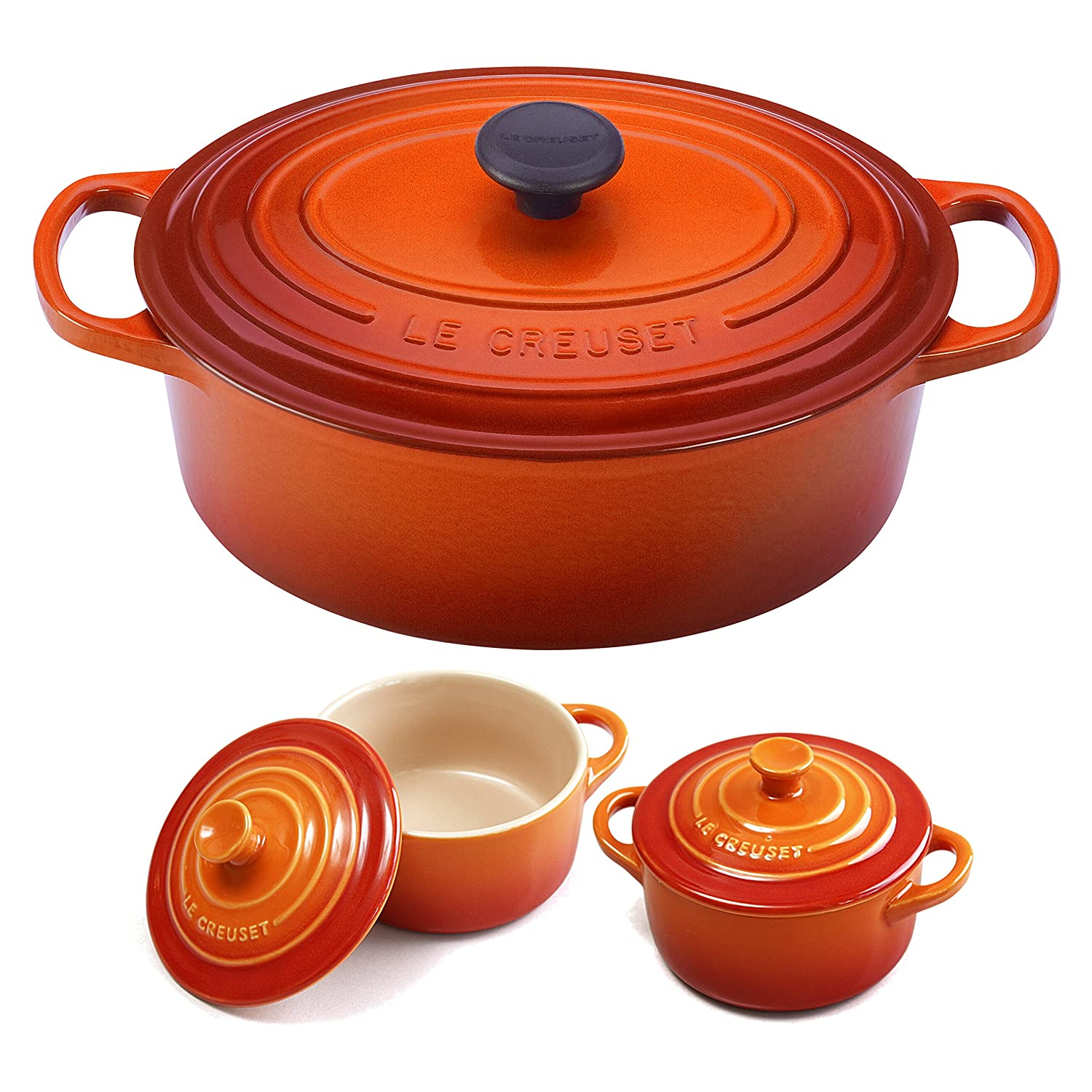 Le Creuset Signature Flame Enameled Cast Iron 5 Quart Oval French Oven with 2 Free Stoneware Cocottes