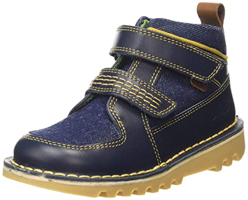 Kickers Kick Stomper Leather, Infant Boy, Dark Blue/ Yellow - Botines Niños,