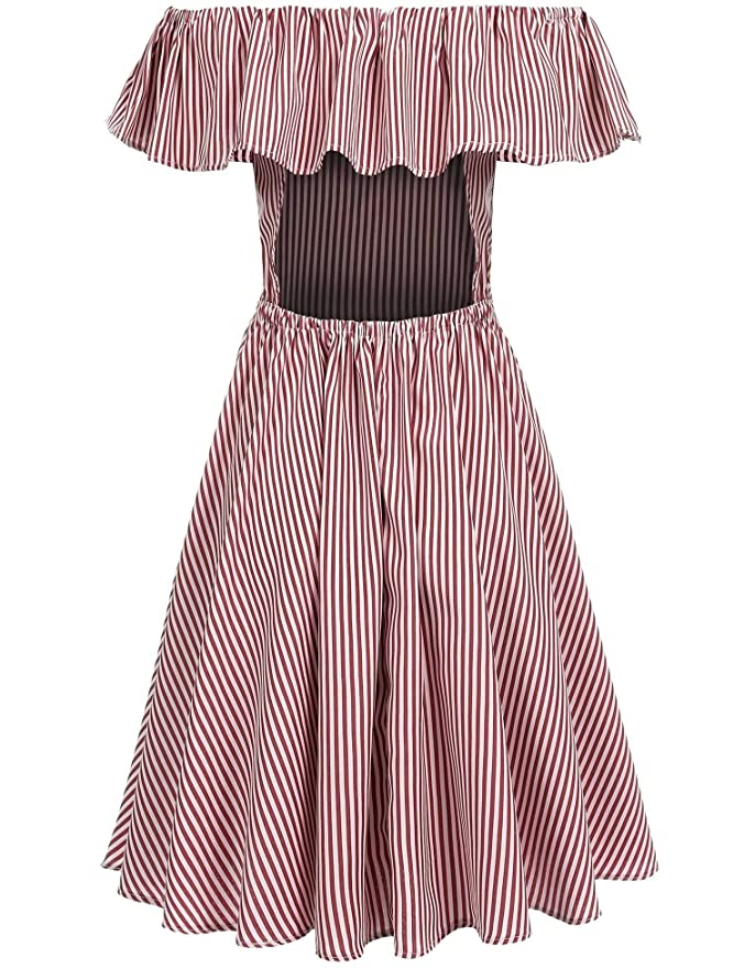 9e694862a00 dozenla Black White Blue White Red White Striped Dress Regular Fit Slash  Neck Backless Dress for Women Short Sleeve Ruffle Collar Ruffle Waist Knee  Length ...