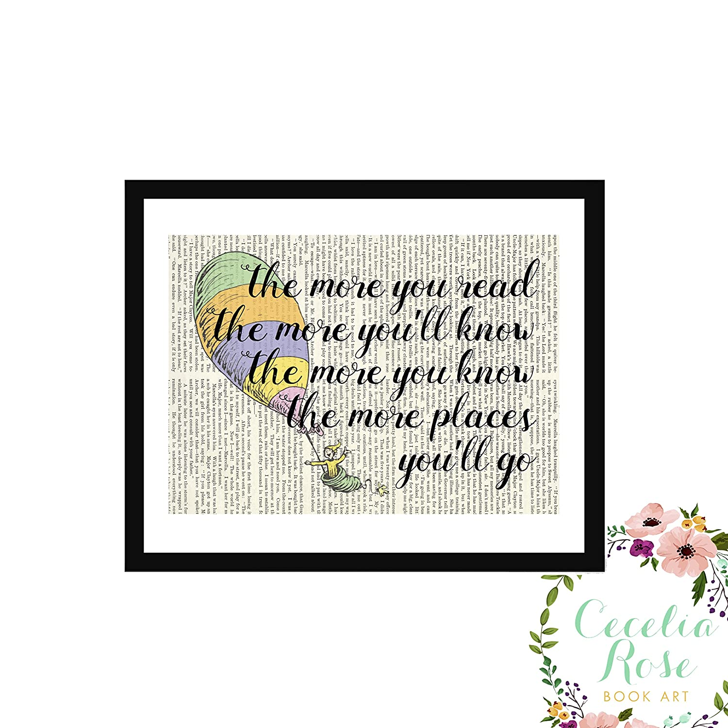 Oh The Places You'll Go Dr. Seuss The More You Read The More You'll Know Children's Book Art Typography Farmhouse Quote Upcycled Vintage Book Page Unframed Print