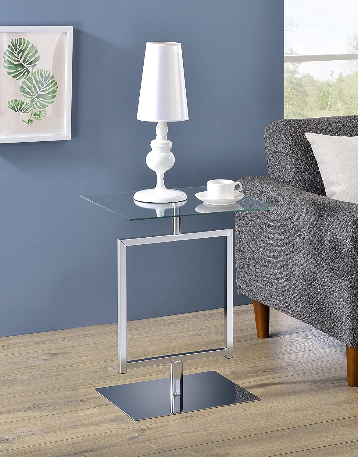 Kings Brand Furniture - Modern Accent Side End Table, Metal/Glass (Chrome)