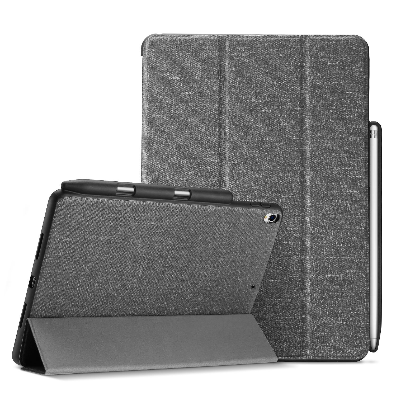 "ProCase iPad Air (3rd Gen) 10.5"" 2019 / iPad Pro 10.5 Case, Slim Folio Stand Protective Book Cover Case Lightweight Smart Cover for iPad Air 10.5 2019 / iPad Pro 10.5 with Apple Pencil Holder –Grey"