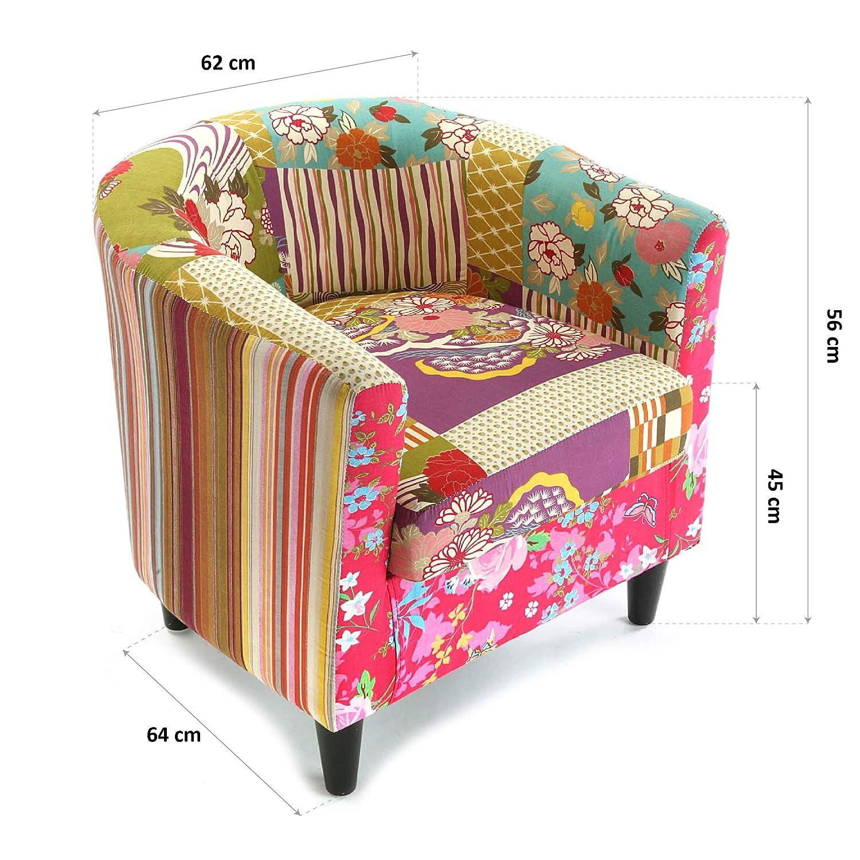 Versa 19500262 Sillón Individual Pink Patchwork, 64x62x56cm ...