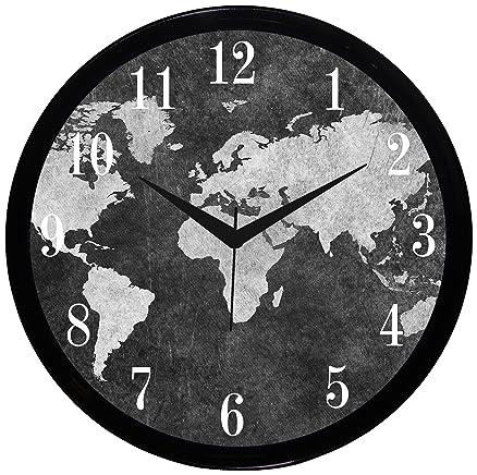 Buy it2m 11 round world map designer wall clock with glass online it2m 11quot round world map designer wall clock with glass sciox Images