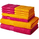 Amazon Brand - Solimo 100% Cotton 10 Piece Towel Set, 500 GSM (Paradise Pink and Sunshine Yellow)