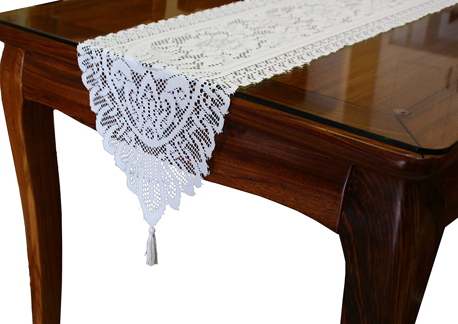 GEFEII White Lace Table Runner Embroidered Floral Lace Dresser Scarves for Kitchen Dining Table Outdoor Wedding Party Overlay Decoration (White, 13 X 45)