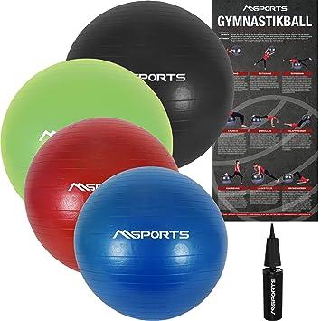 28e3663c5dd58 MSPORTS Gymnastikball Premium Anti Burst inkl. Pumpe 55 cm - 105 cm  Sitzball - Fitnessball