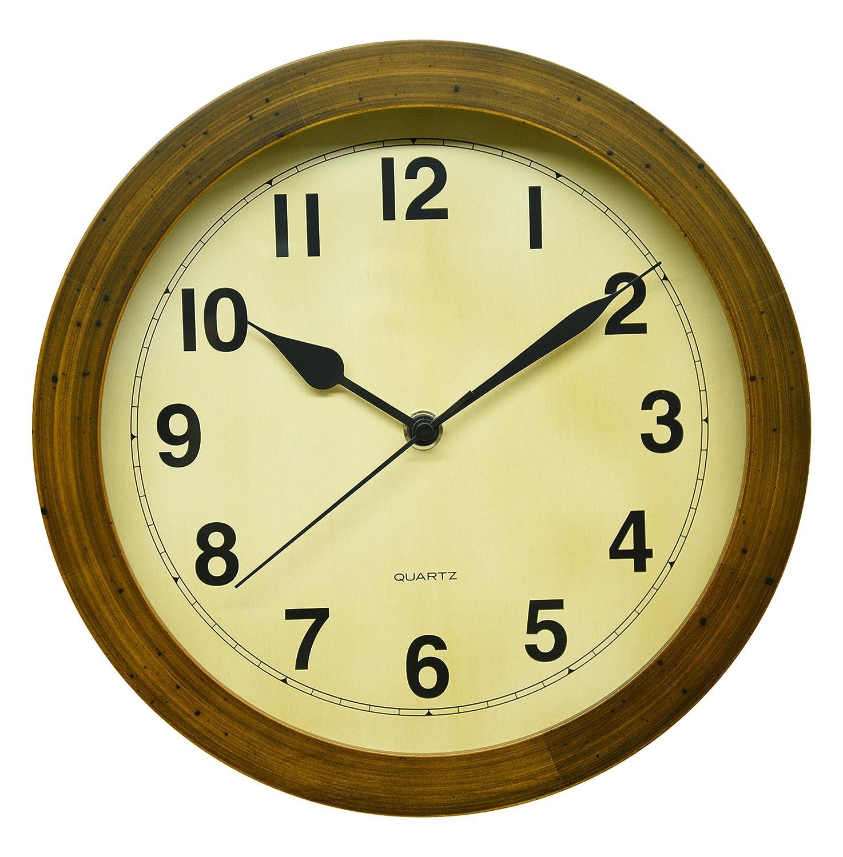 さんてる レトロ 掛け時計 (丸型) 日本製 電波 ブラウン DQL501 B019E60ZVO