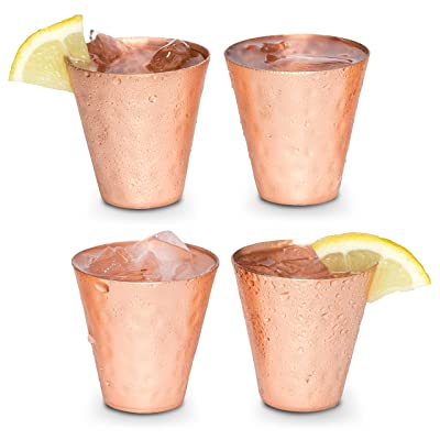 Moscow mule shot glasses - Copper shot glasses set of 4-2oz hammered solid copper shot cups for ice cold vodka, tequila, whisky.: Kitchen & Dining