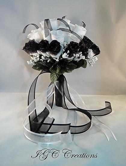 Amazon igc wedding bridal floral flower bouquet silk rose igc wedding bridal floral flower bouquet silk rose flowers bouquets with raindrops and organza mightylinksfo