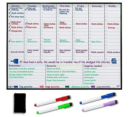 Pizarra blanca magnética planificadora semanal, planificador ...