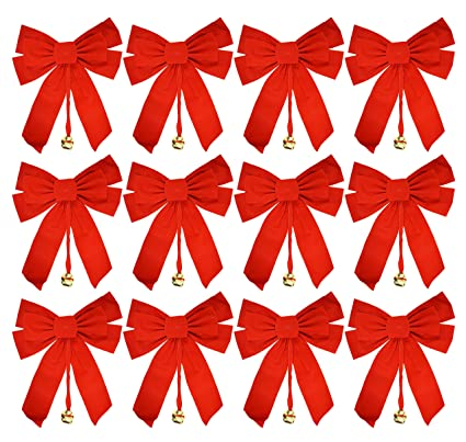 set of 12 large red velvet christmas bows 10 x 15 - Large Christmas Bows