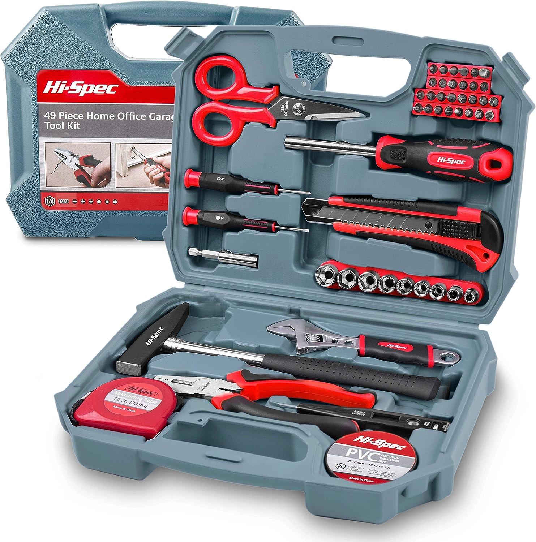Hi-Spec Kit de Herramientas Completo 49 en Uno para Bricolaje y Reparaciones con Voltímetro, Destornilladores, Martillo, Alicates, Pico de Loro