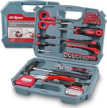 Hi-Spec Kit de Herramientas Completo 49 en Uno para Bricolaje y Reparaciones con Voltímetro, Destornilladores, Martillo, Alicates, Pico de Loro: Amazon.es: Bricolaje y herramientas