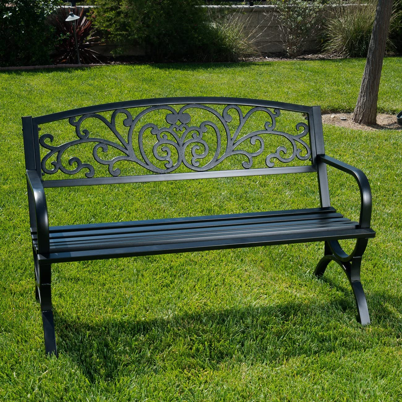 BELLEZE 50 Garden Backyard Bench, Metal, Black