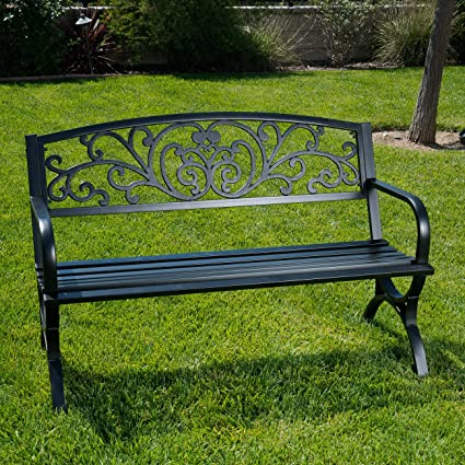 Admirable Belleze 50 Garden Backyard Bench Metal Black Evergreenethics Interior Chair Design Evergreenethicsorg