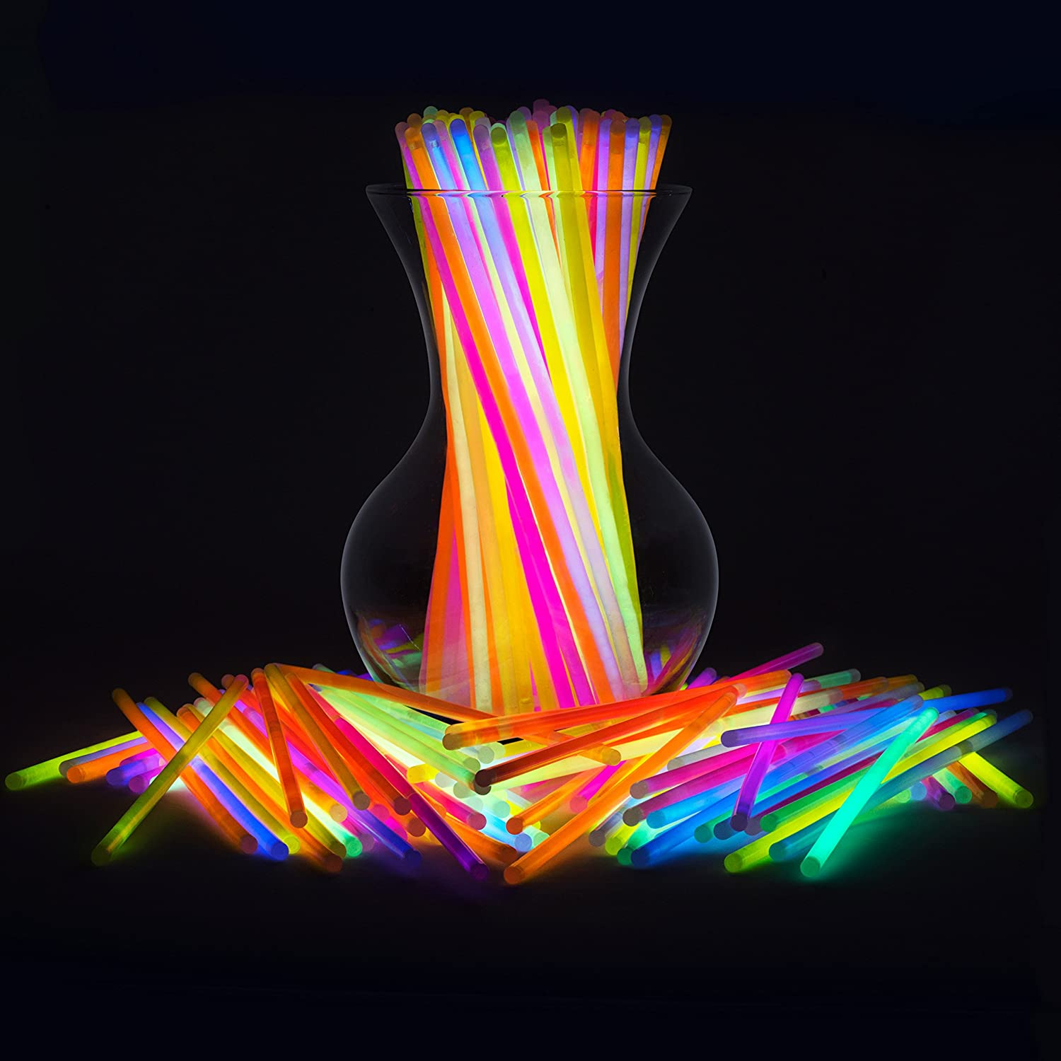 "Glow Sticks Jewelry Bulk Party Favors 300pk - 8"" Glow in the Dark Party Supplies, Neon Party Glow Necklaces and Bracelets for Kids or Adults"