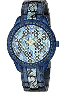GUESS Womens U0624L3 Iconic Indigo Blue Python Print Watch
