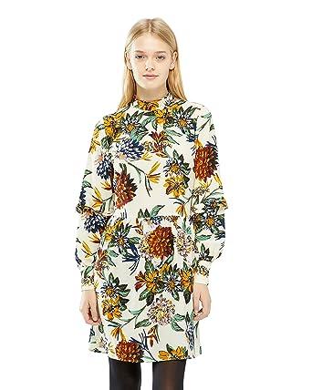 Vila Korte Kleid, Damen, Large, Altweiß: Amazon.de: Bekleidung