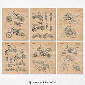 Vintage Honda, Yamaha, Kawasaki, KTM Motocross Dirt Bikes Poster Prints, Set of 6 (8x10) Unframed Photos, Wall Art Decor Gifts Under 20 for Home, Office, Garage, Man Cave, College Student, X Games