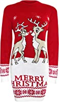 Blush Avenue® Womens Ladies New Tunic Reindeer Xmas Knitted Retro Jumper Long Dress