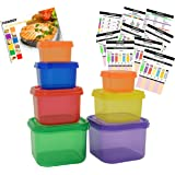 FIXBODY 7 Piece Portion Control Containers Kit (COMPLETE GUIDE + FREE 21 DAY PDF PLANNER + RECIPE E-BOOK + BODY PDF TRACKER included) - Leak proof, Perfect Size, Color-coded