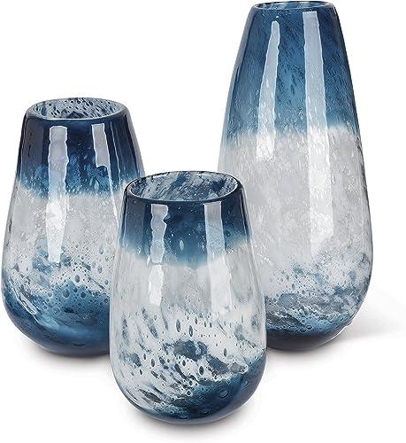 Lone Elm 94097 Blue Art Glass Vase Set of 3 , 6.8 x 6.8 x 14.6