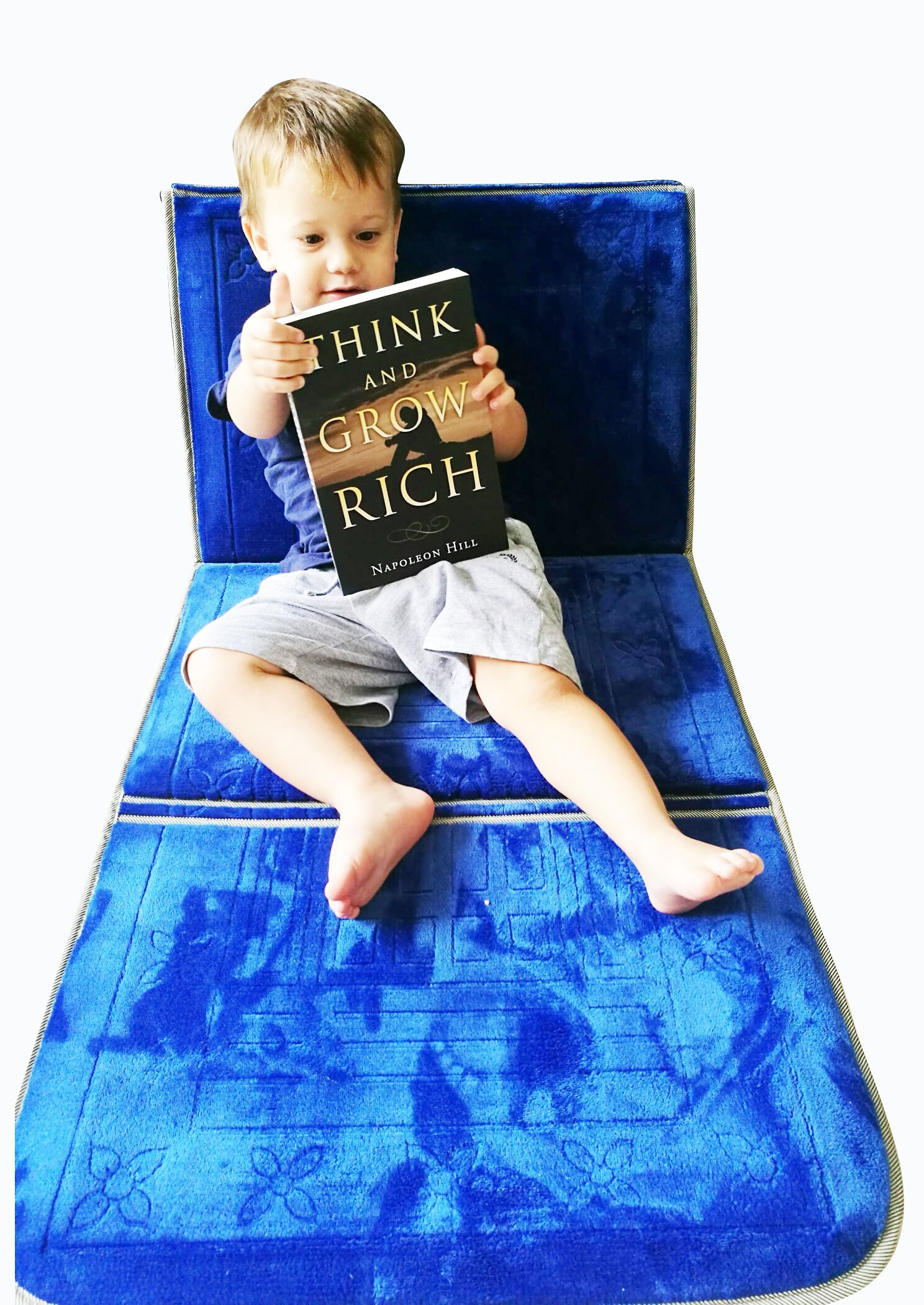 iSeat folding chair rug with backrest - Indoor Blue, prayer rug, meditation chair, floor chair / lounger, tv chair, floor cushion, foldable mat / carpet, kids, relax, read, yoga, picnic, beach, travel