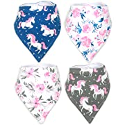 Stadela Baby Adjustable Bandana Drool Bibs for Drooling and Teething Nursery Burp Cloths 4 Pack Baby Shower Gift Set for Girls – Flowers and Unicorns Floral Themed with Stars Fantasy