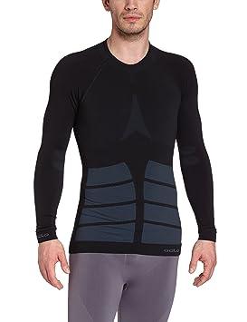 Odlo Evolution Warm - Camiseta interior térmica sin costuras para hombre, color negro, talla