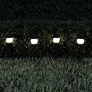 """Pure Garden 50-LG1066 Solar Path Lights-13.8"""" Stainless Steel Outdoor Stake Lighting for Garden, Landscape, Patio, Driveway, Walkway Set of 4 (Black)"""