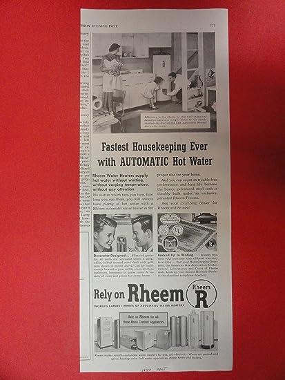 Rheem calentadores de agua, diseño de 1950 Ad (diseño de mujer/Man/