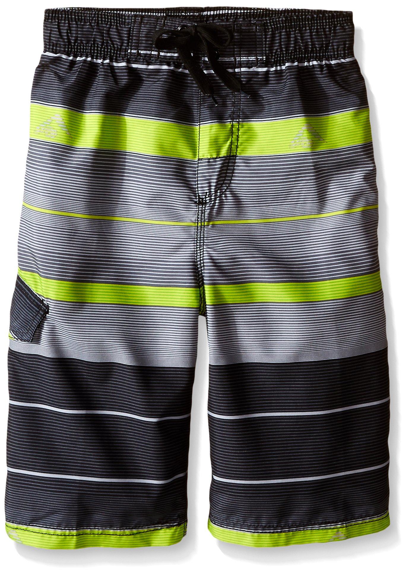 Kanu Surf Big Boys' Specter Stripe Swim Trunk, Charcoal, Large (14/16)