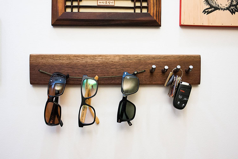 199ee8408429 Amazon.com  Handmade solid walnut sunglasses   keys wall organizer (18