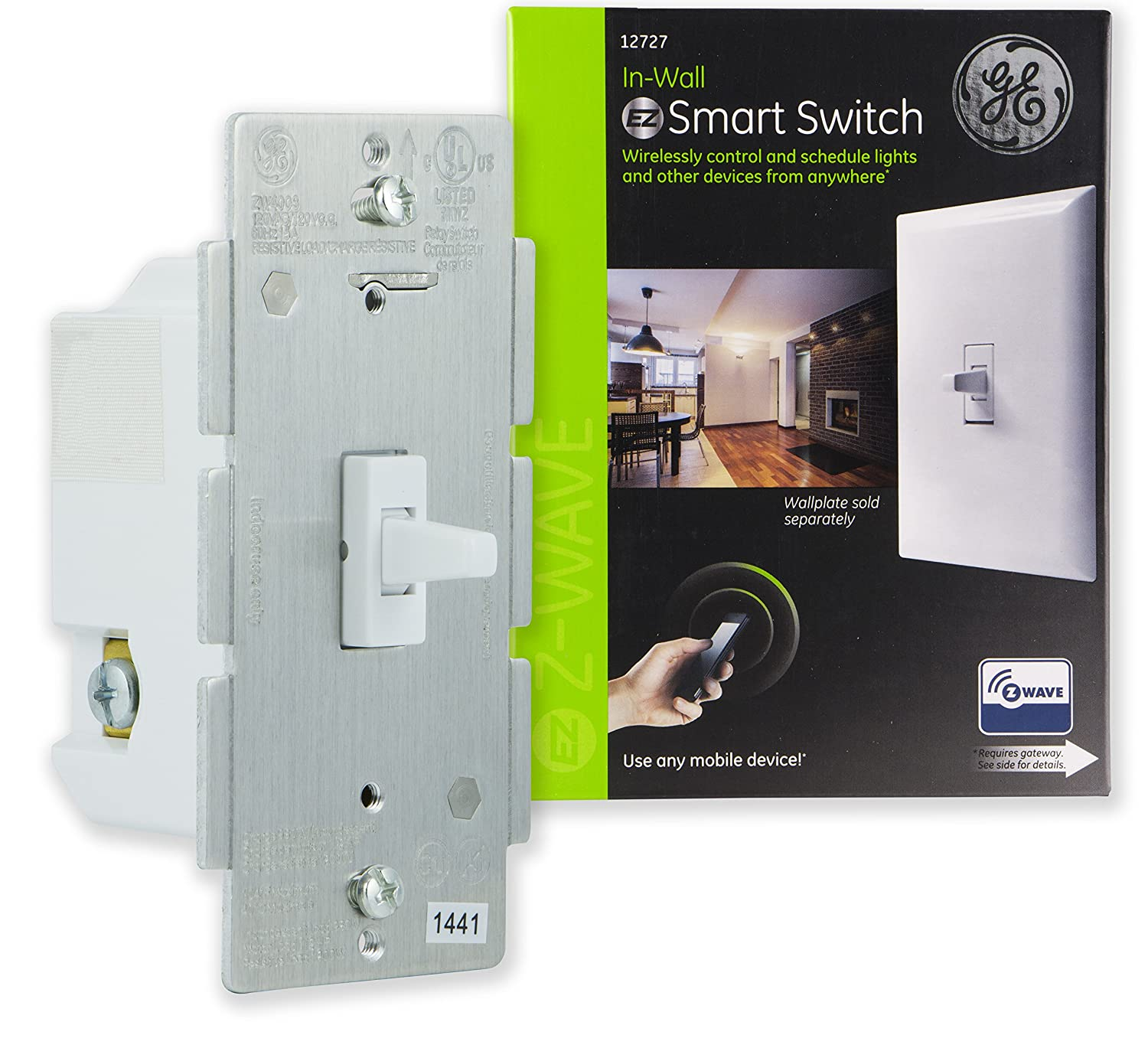 Ge Z Wave Wireless Smart Lighting Control Light Switch Toggle Style Wiring Up A 3 Way On Off In Wall White Repeater Range Extender Zwave Hub Required Works With