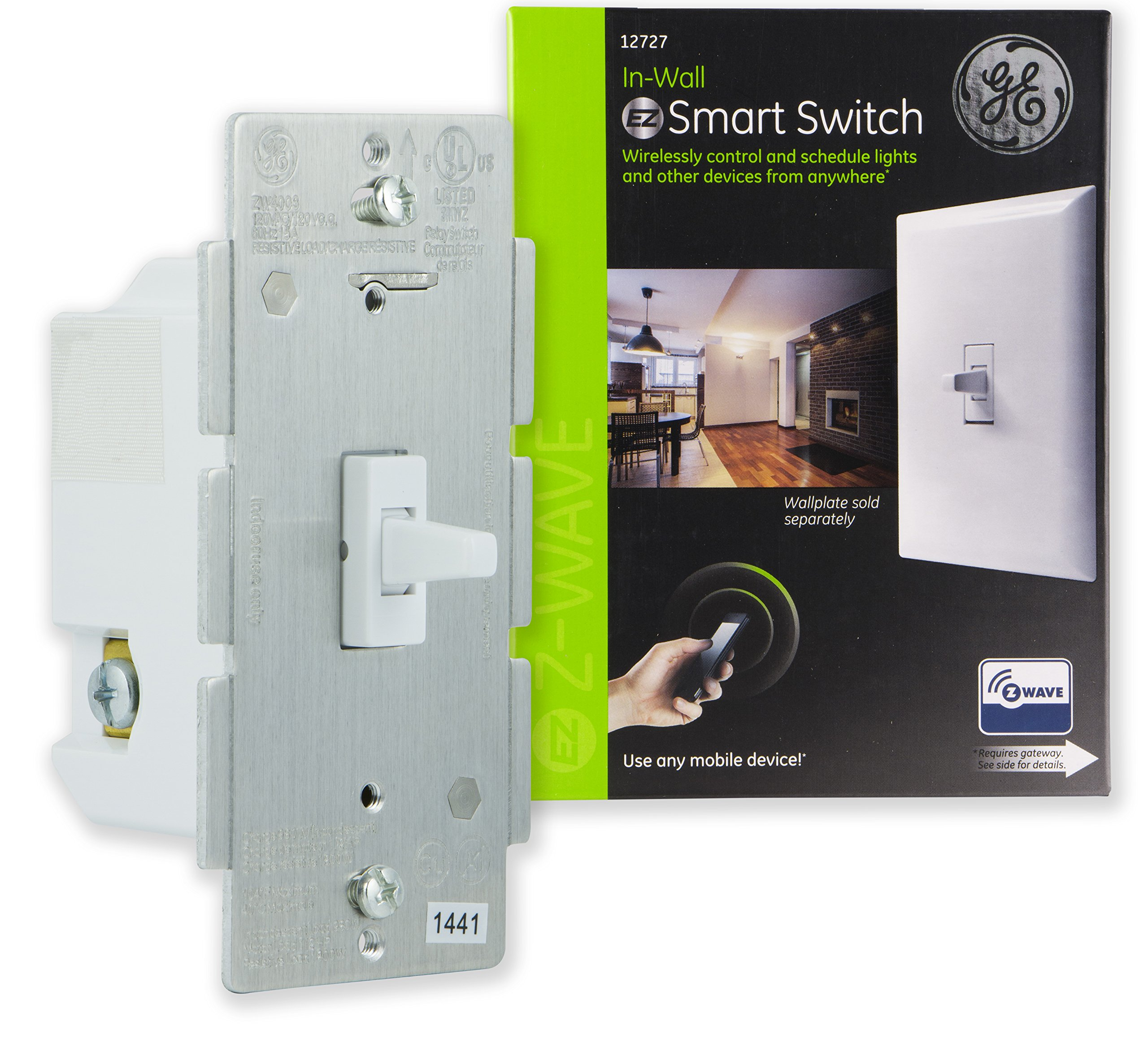 GE Z-Wave Wireless Smart Lighting Control Light Switch, Toggle Style, On/Off, In-Wall, White, Repeater & Range Extender, Zwave Hub Required- Works with SmartThings Wink and Alexa, 12727