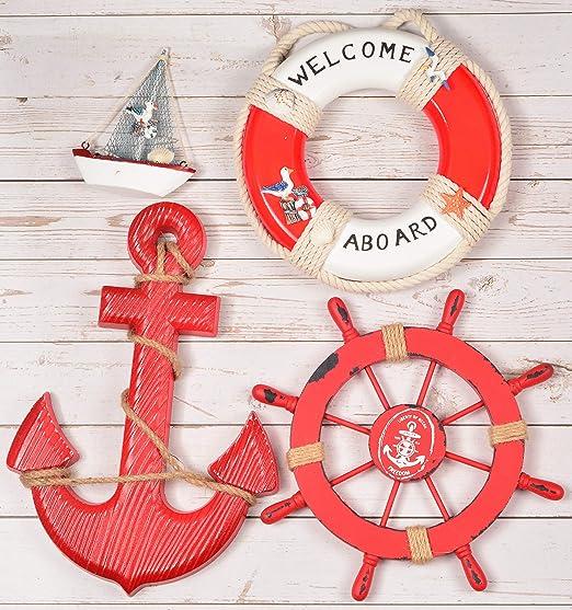 Decor Nautical Ornament Lifebuoy Wall hanging Decorative Life Ring Beach Craft