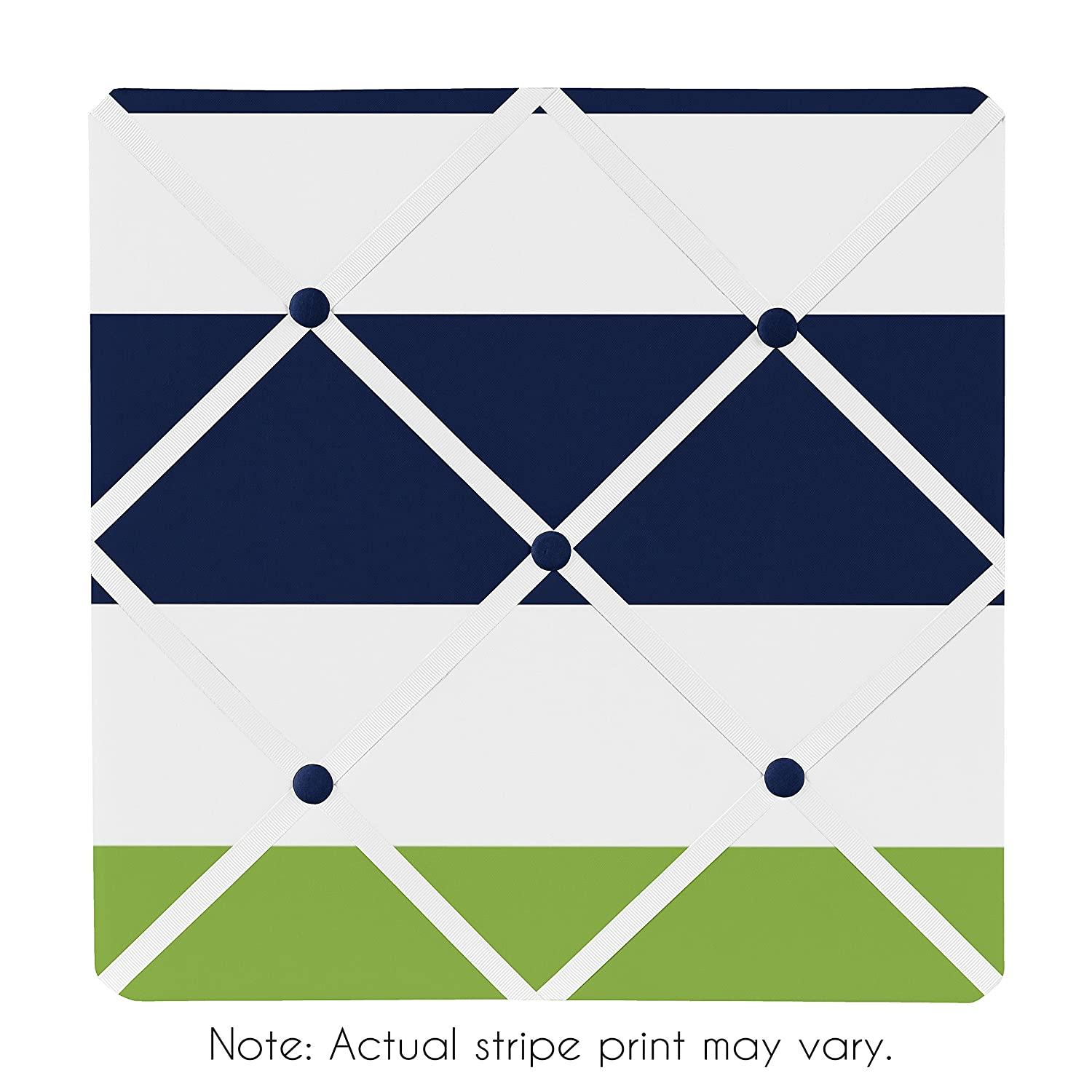 Sweet Jojo Designs Navy Blue, Lime Green and White Fabric Memory/Memo Photo Bulletin Board for Stripe Collection B00N2UAJNS