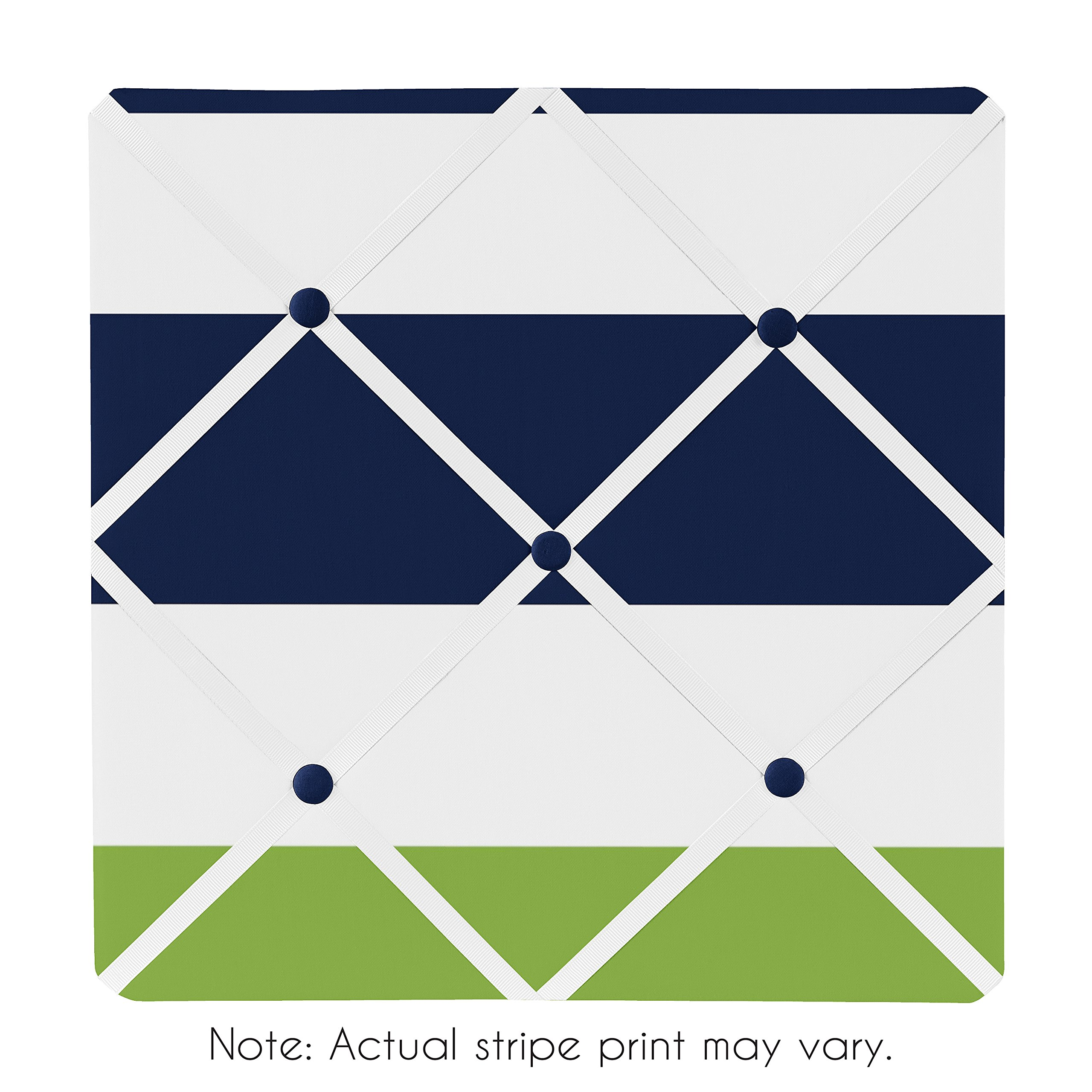 Sweet Jojo Designs Navy Blue, Lime Green and White Fabric Memory/Memo Photo Bulletin Board for Stripe Collection