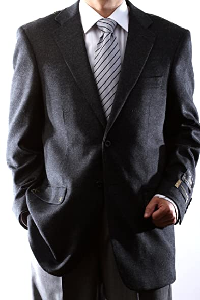 Men's 2 Button Luxury Wool Cashmere Charcoal Sport Coat at Amazon ...